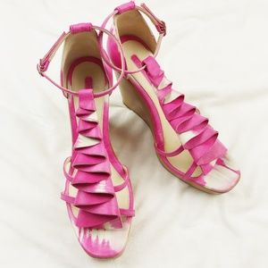 NWOB LONGCHAMP Pink Tie Dye Ruched Wedge Sandals